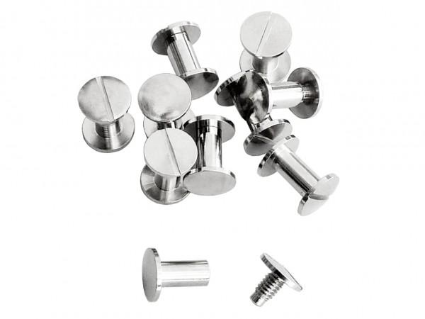 Buchschrauben silber 10 mm / Pack mit 10 Stück