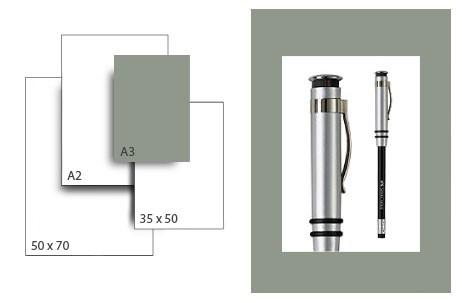 Präsentationskarton SeriTone 2 / Format A3 / 50 Bogen / mittelgrau-weiss
