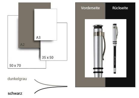 Präsentationskarton DuoChart 3 / Format A2 / 25 Bogen / dunkelgrau-schwarz