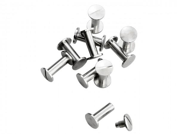 Buchschrauben silber 15 mm / Pack mit 10 Stück
