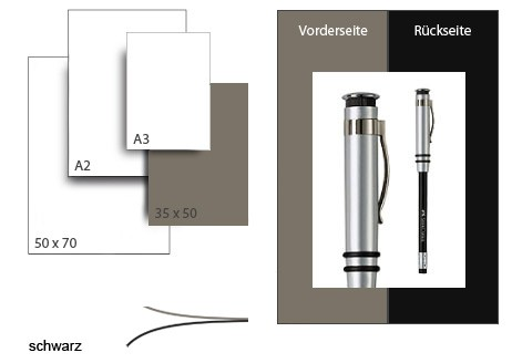 Präsentationskarton DuoChart 3 / Format 35 x 50 cm / 50 Bogen / dunkelgrau-schwarz