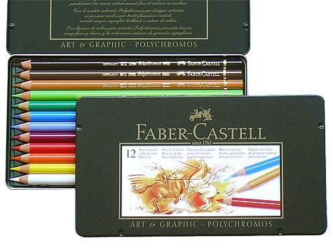 Farbstifte Polychromos, Set mit 12 Farben in einer Metallschachtel