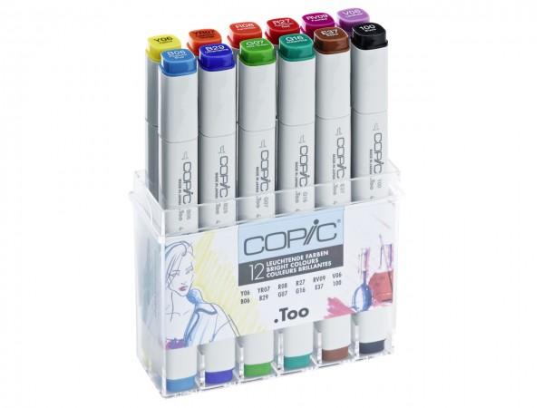 COPIC® Marker, Set mit 12 leuchtenden Farben