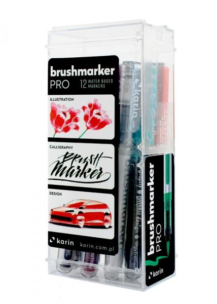 Karin Brushmarker PRO Set mit 12 Farben, Basic Colours