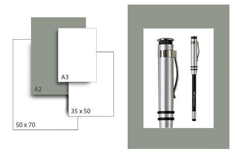 Präsentationskarton SeriTone 2 / Format A2 / 25 Bogen / mittelgrau-weiss