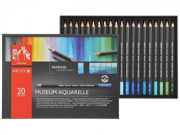 Farbstifte Museum Aquarell, Set Marine mit 20 Farben