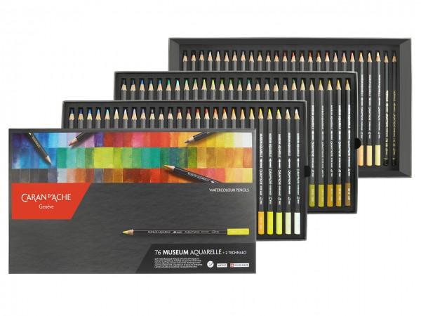 Farbstifte Museum Aquarell, Set mit allen 76 Farben in einer Kartonbox