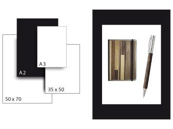 Präsentationskarton SeriTone 4 / Format A2 / 10 Bogen / schwarz-weiss