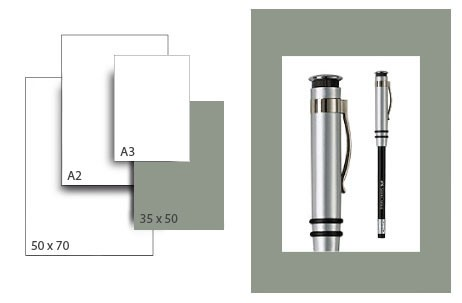 Präsentationskarton SeriTone 2 / Format 35 x 50 cm / 25 Bogen / mittelgrau-weiss