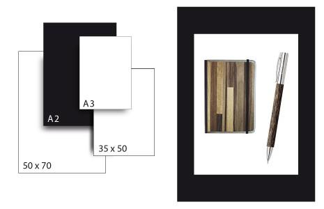 Präsentationskarton SeriTone 4 / Format A2 / 25 Bogen / schwarz-weiss