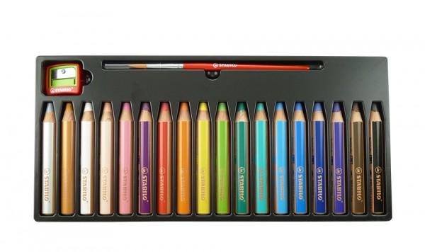 woody von Stabilo® 3 in 1, Set mit 18 Farben