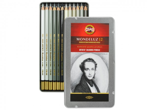 Farbstifte Mondeluz, Metallschachtel mit 12 Grautönen