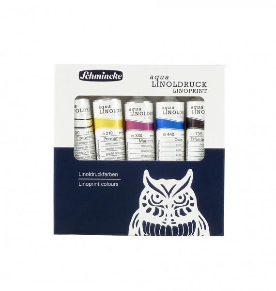 aqua-Linoldruck-Farben von Schmincke, Set mit 5 Farben