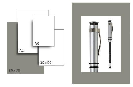Präsentationskarton SeriTone 3 / Format 50 x 70 cm / 25 Bogen / dunkelgrau-weiss