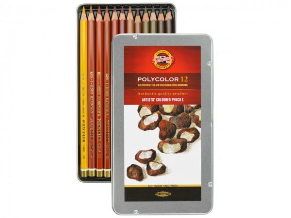 Farbstifte Polycolor, Metallschachtel mit 12 Brauntönen