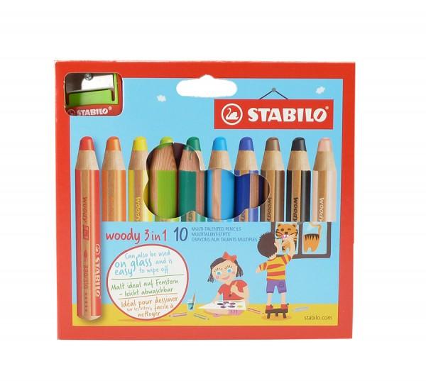 woody von Stabilo® 3 in 1, Set mit 10 Farben