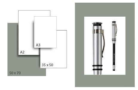 Präsentationskarton SeriTone 2 / Format 50 x 70 cm / 50 Bogen / mittelgrau-weiss