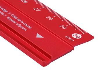 Schneidemassstab Aluminium rot / 30 cm