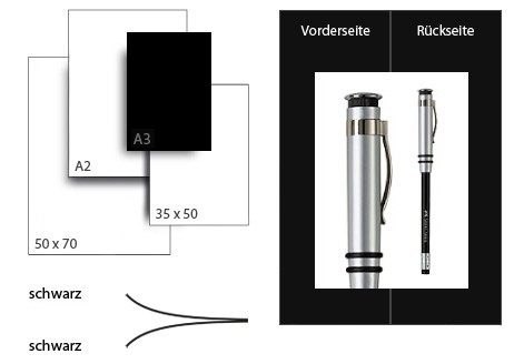 Präsentationskarton DuoChart 4 / Format A3 / 50 Bogen / schwarz-schwarz