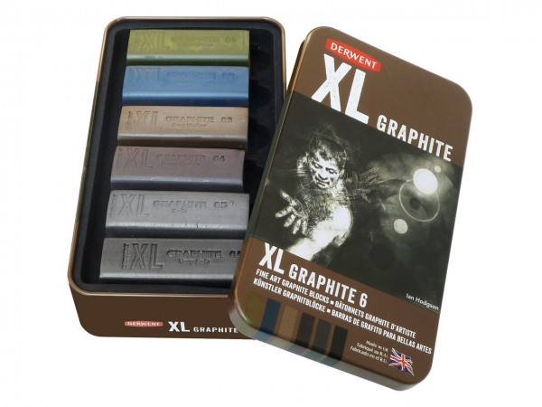 Derwent Graphite XL, 6 assortierte Graphitblöcke in Metallschachtel