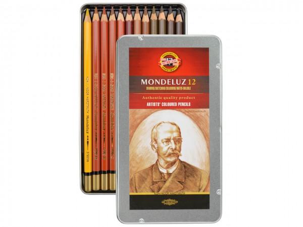 Farbstifte Mondeluz, Metallschachtel mit 12 Brauntönen
