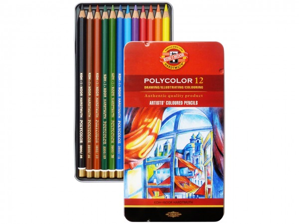Farbstifte Polycolor, Metallschachtel mit 12 Grundfarben