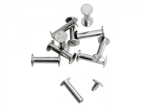 Buchschrauben silber 20 mm / Pack mit 10 Stück