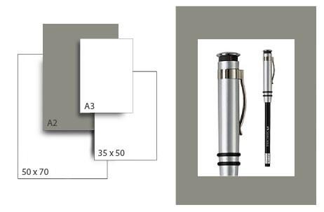 Präsentationskarton SeriTone 3 / Format A2 / 25 Bogen / dunkelgrau-weiss