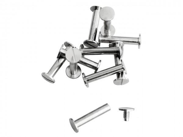 Buchschrauben silber 25 mm / Pack mit 10 Stück