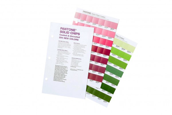 PANTONE® PLUS SERIES SOLID CHIPS, Ergänzung mit 294 neuen Farben coated / uncoated
