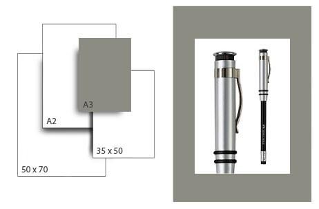 Präsentationskarton SeriTone 3 / Format A3 / 50 Bogen / dunkelgrau-weiss