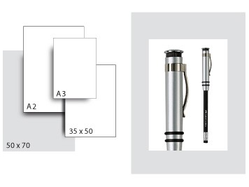 Präsentationskarton SeriTone 1 / Format 50 x 70 cm / 10 Bogen / hellgrau-weiss