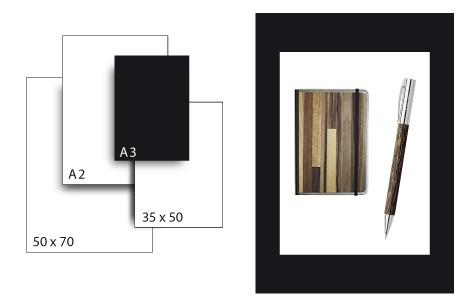 Präsentationskarton SeriTone 4 / Format A3 / 25 Bogen / schwarz-weiss