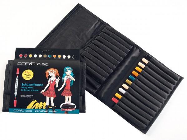 COPIC® ciao Marker, WALLET Manga Schuluniformen, mit 12 Farben