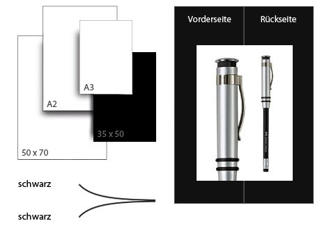 Präsentationskarton DuoChart 4 / Format 35 x 50 cm / 50 Bogen / schwarz-schwarz