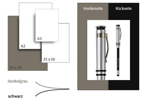 Präsentationskarton DuoChart 3 / Format 50 x 70 cm / 10 Bogen / dunkelgrau-schwarz
