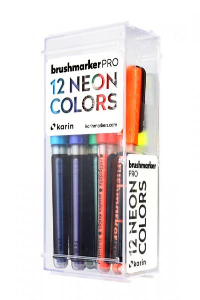 Karin Brushmarker PRO Set mit 12 Farben, Neon Colours
