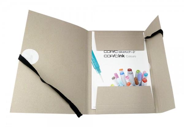 Graukarton Zeichenmappe mit Innenklappen und Bändel