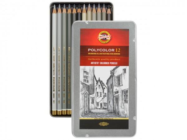 Farbstifte Polycolor, Metallschachtel mit 12 Grautönen